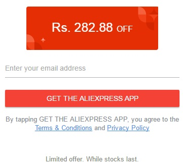 Aliexpress Rs. 282 Coupon Code