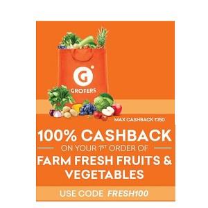 Grofers 100% Cashback
